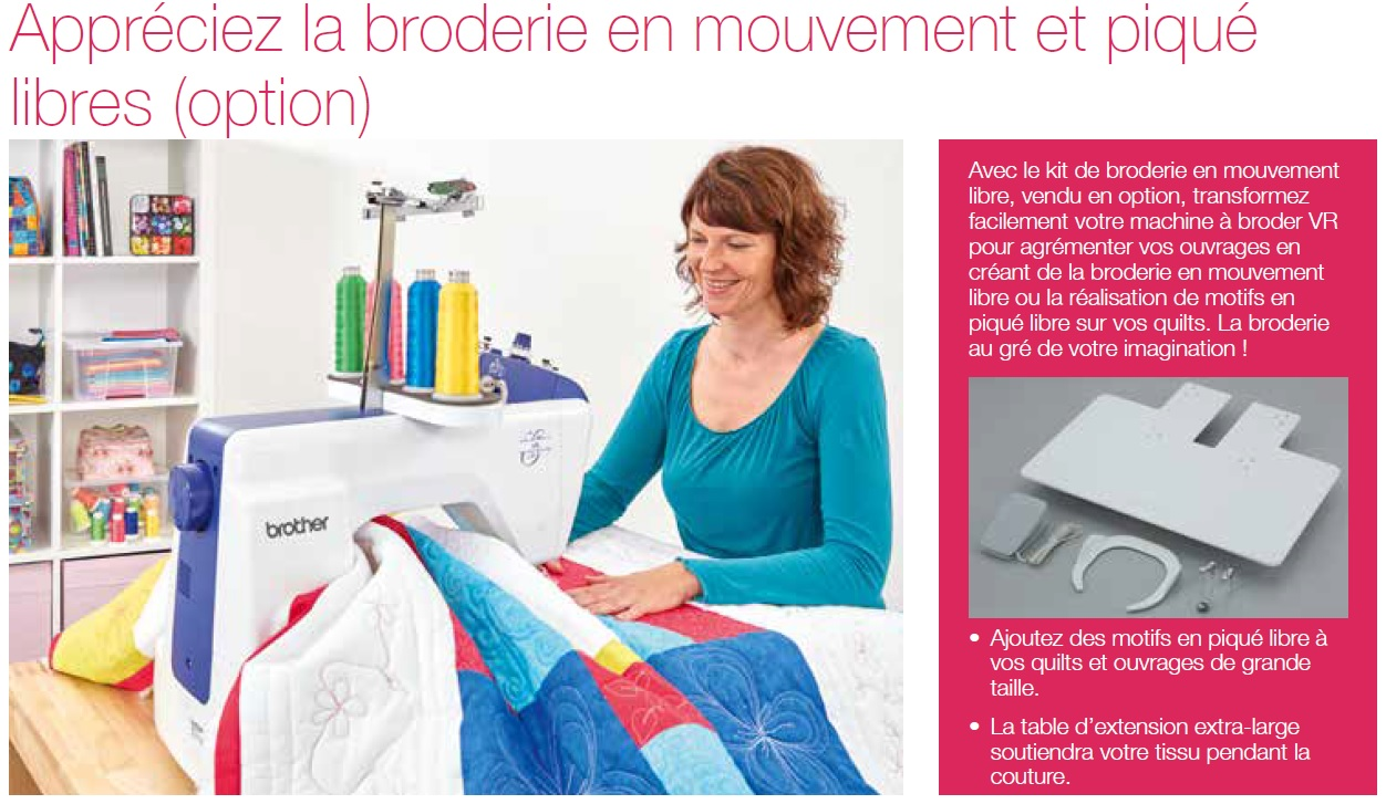 option kit de broderie en piqué libre pour machine de broderie Brother VR